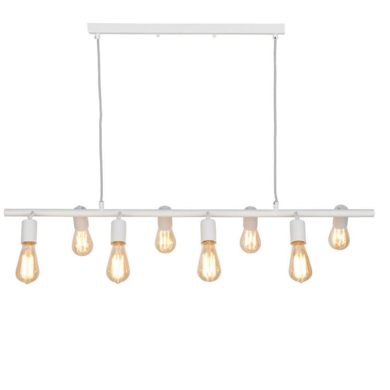 Suspension 8 lumières métal blanc L105cm