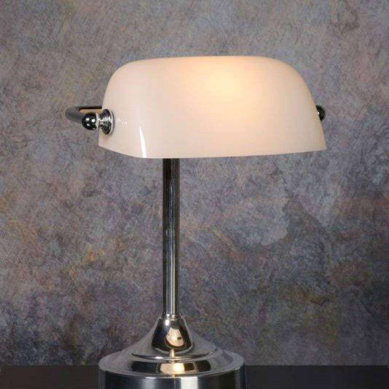 Lampe de bureau métal et verre blanc chrome H30cm