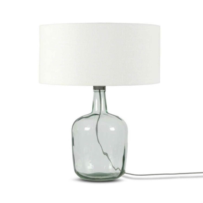 Lampe à poser verre/lin H47cm