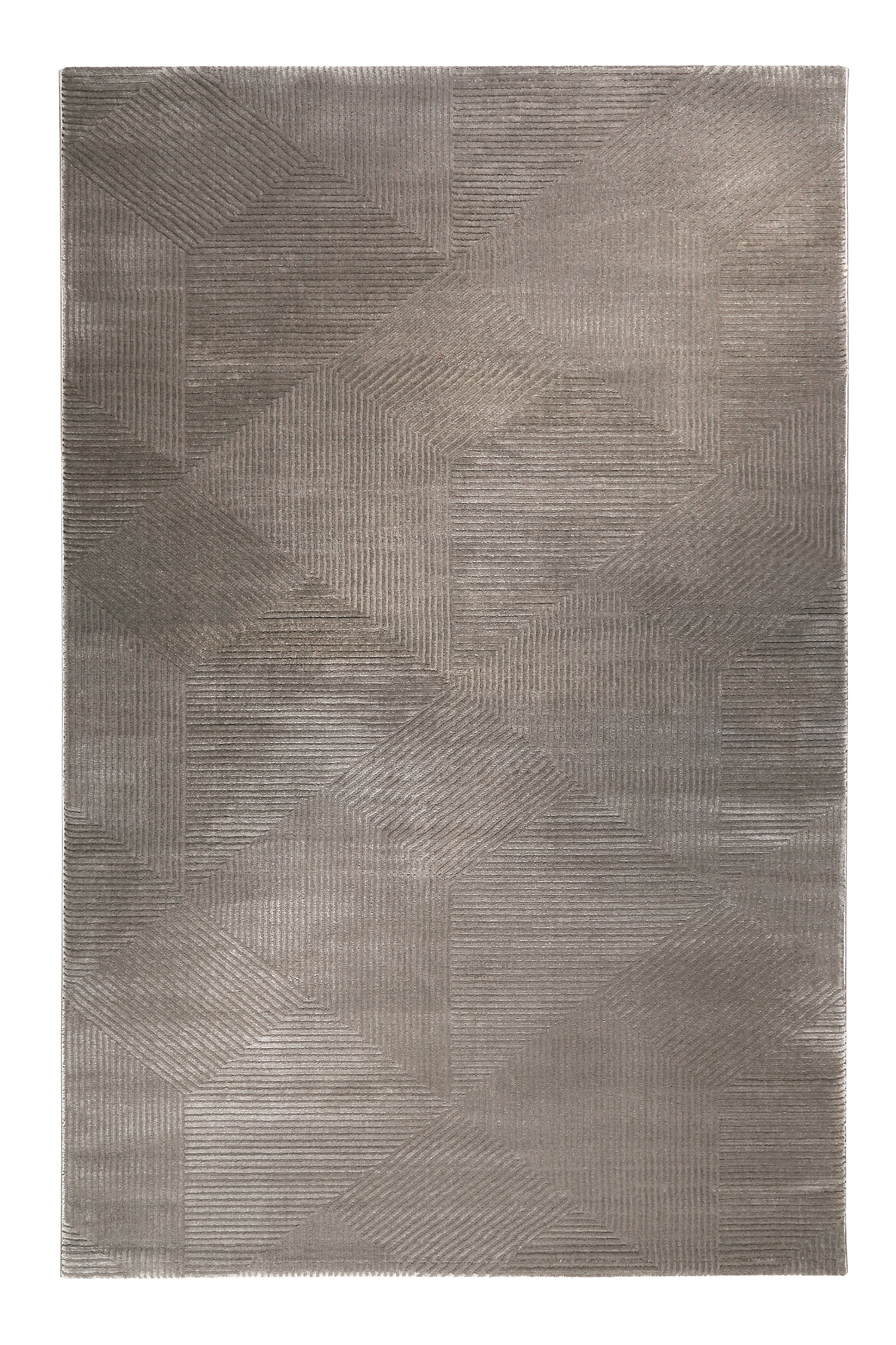 Tapis motif géométrique à relief gris taupe 170x120