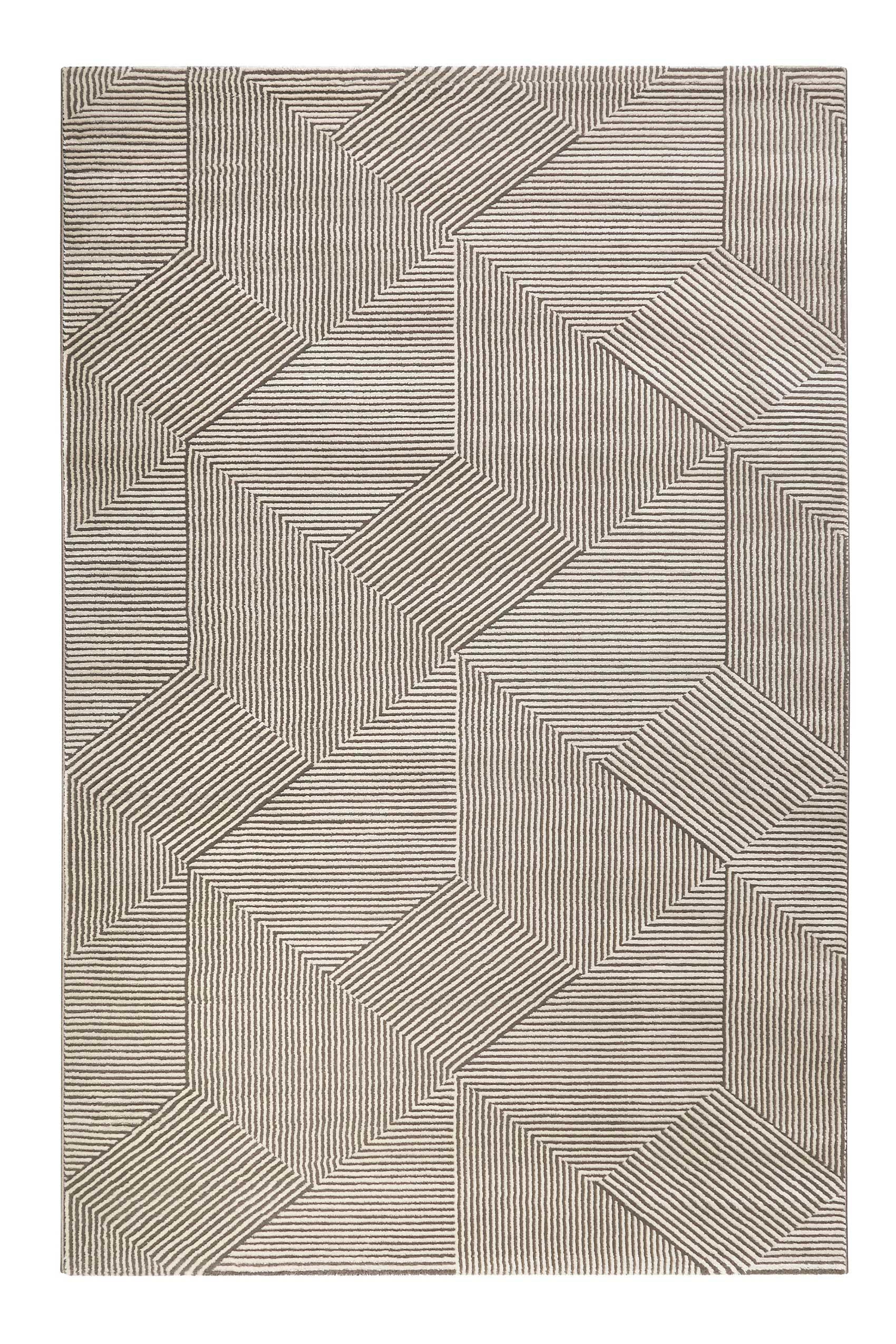 Tapis motif géométrique relief beige taupe 200x133