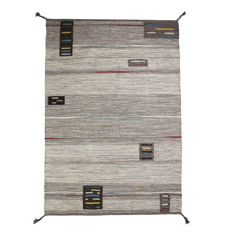 Tapis en laine à tresses pompons esprit tribal gris 160x230