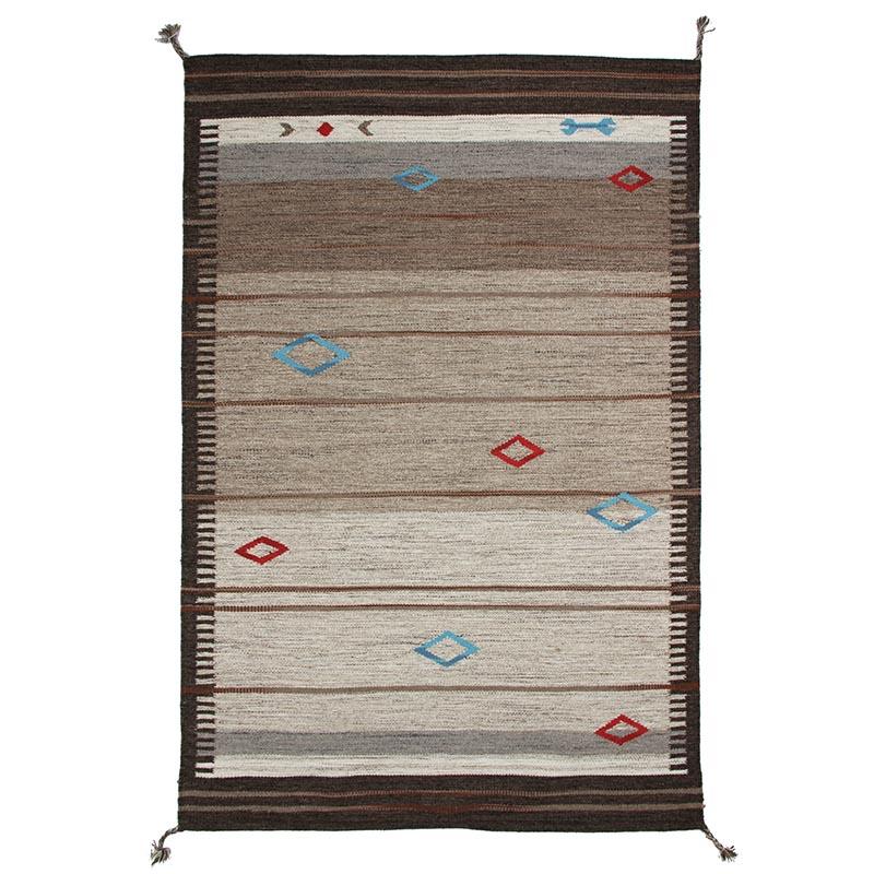 Tapis en laine à tresses pompons esprit tribal beige 160x230