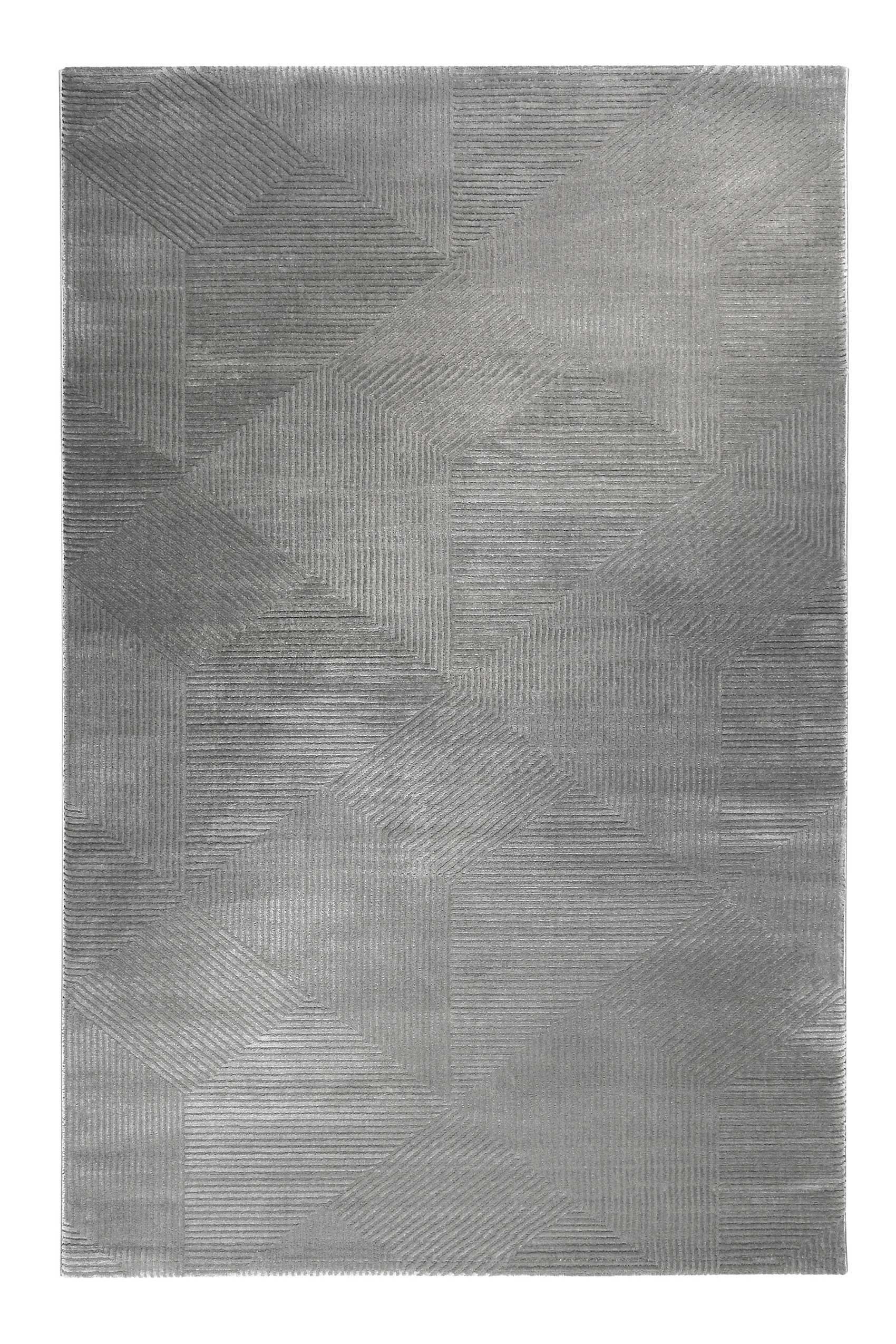 Tapis motif géométrique à relief gris taupe 200x133