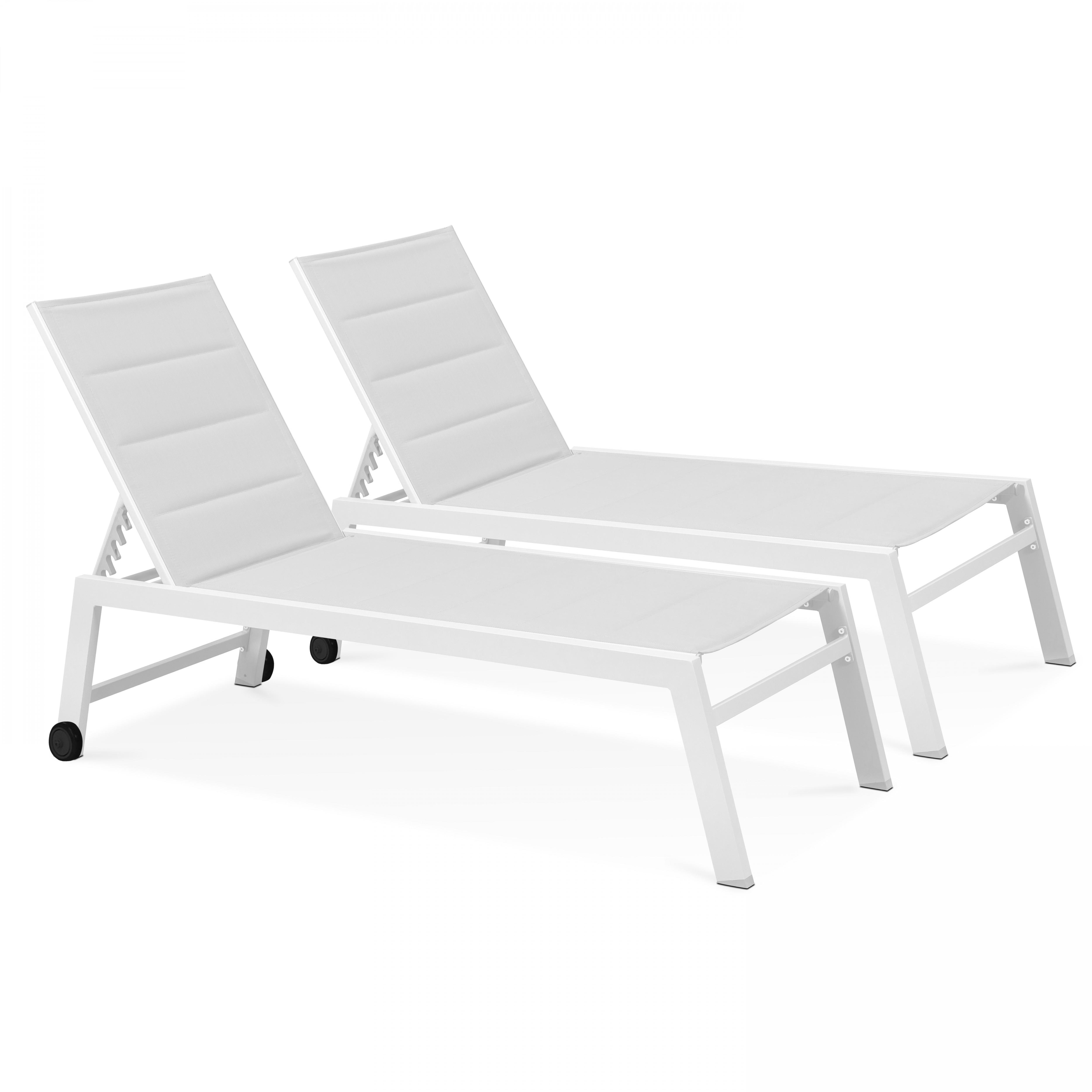 Lot de 2 bains de soleil en aluminium et textilène blanc