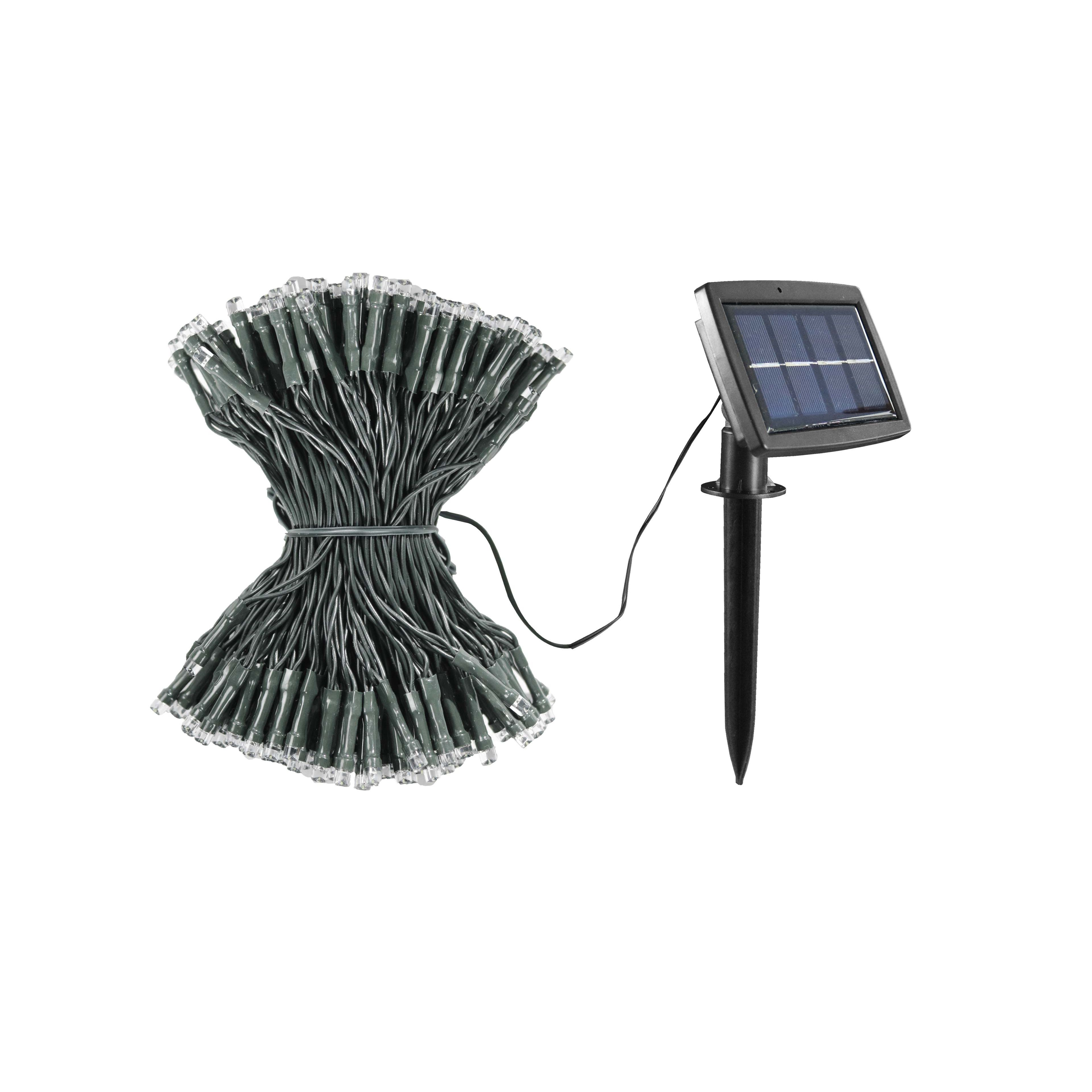 Guirlande solaire 300 ampoules LED blanc L32m