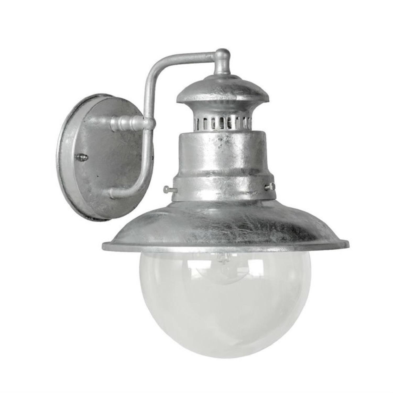 Applique d'extérieur métal argenté et verre H27cm