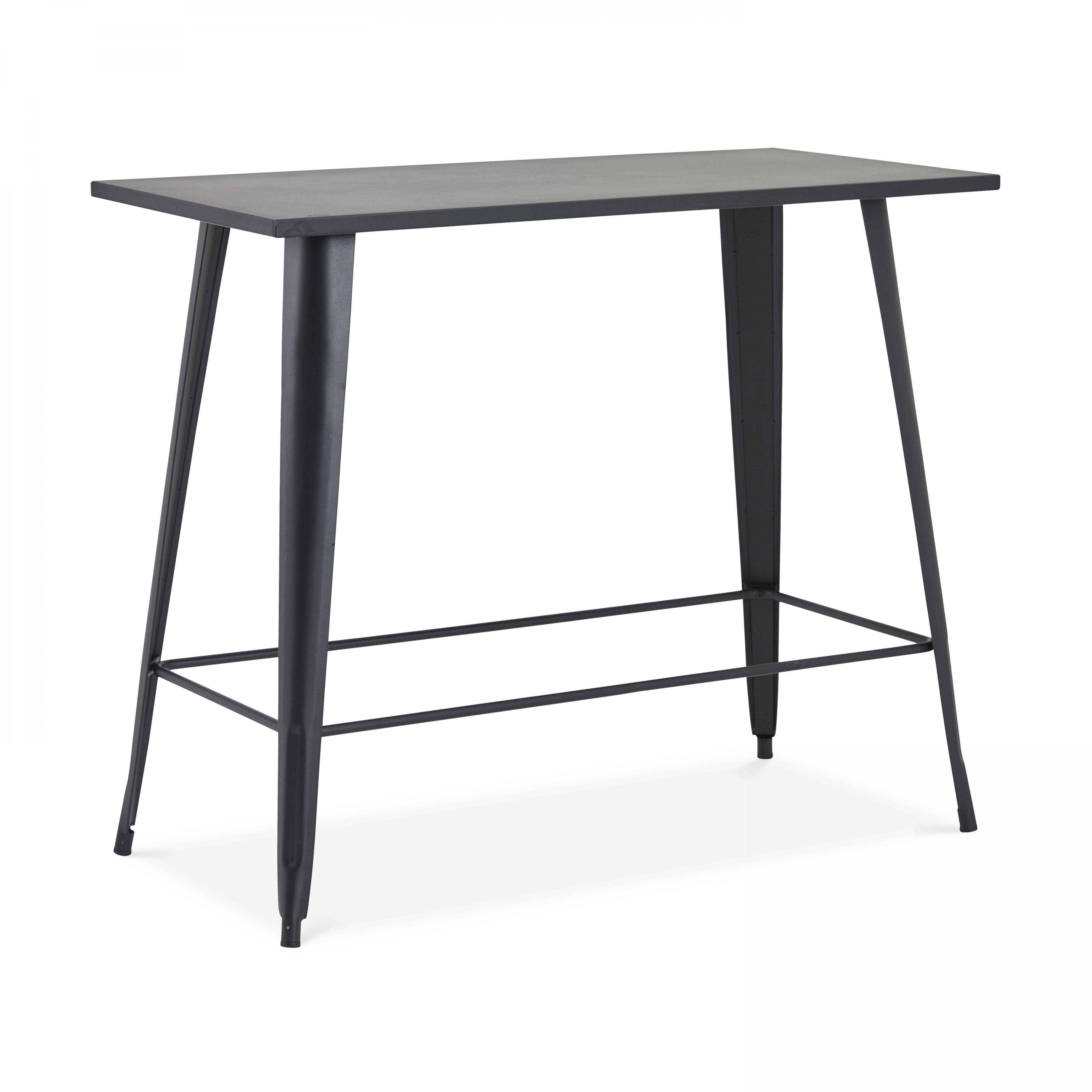Table haute de jardin en métal noir mat noir