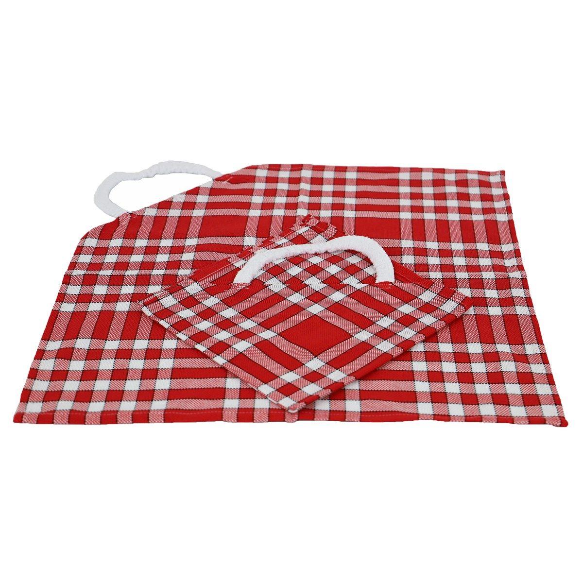 Lot de 2 bavoirs coton carreaux vichy Normand rouge 50x50