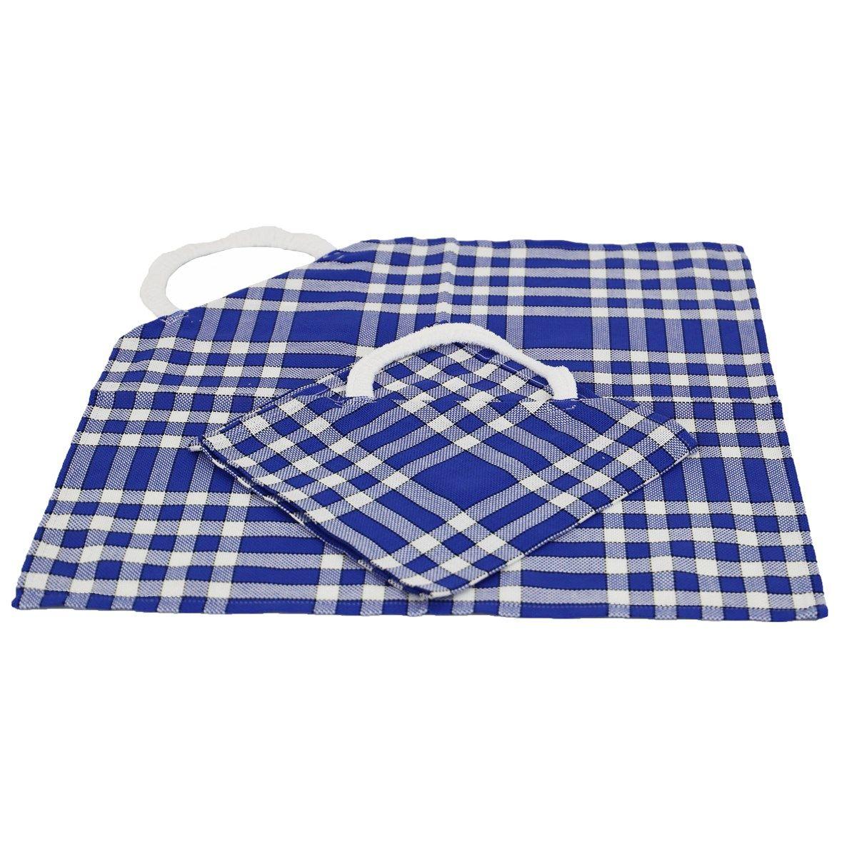 Lot de 2 bavoirs coton carreaux vichy Normand bleu 50x50