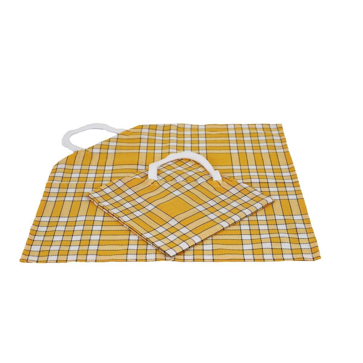 Lot de 2 bavoirs coton carreaux vichy Normand jaune 50x50