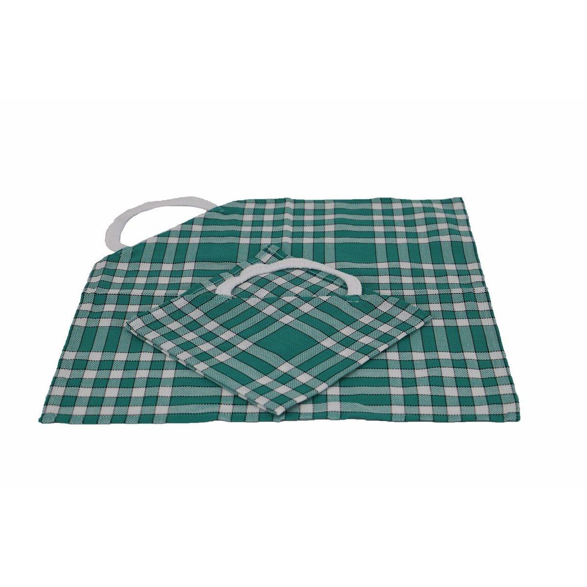 Lot de 2 bavoirs coton carreaux vichy Normand vert 50x50