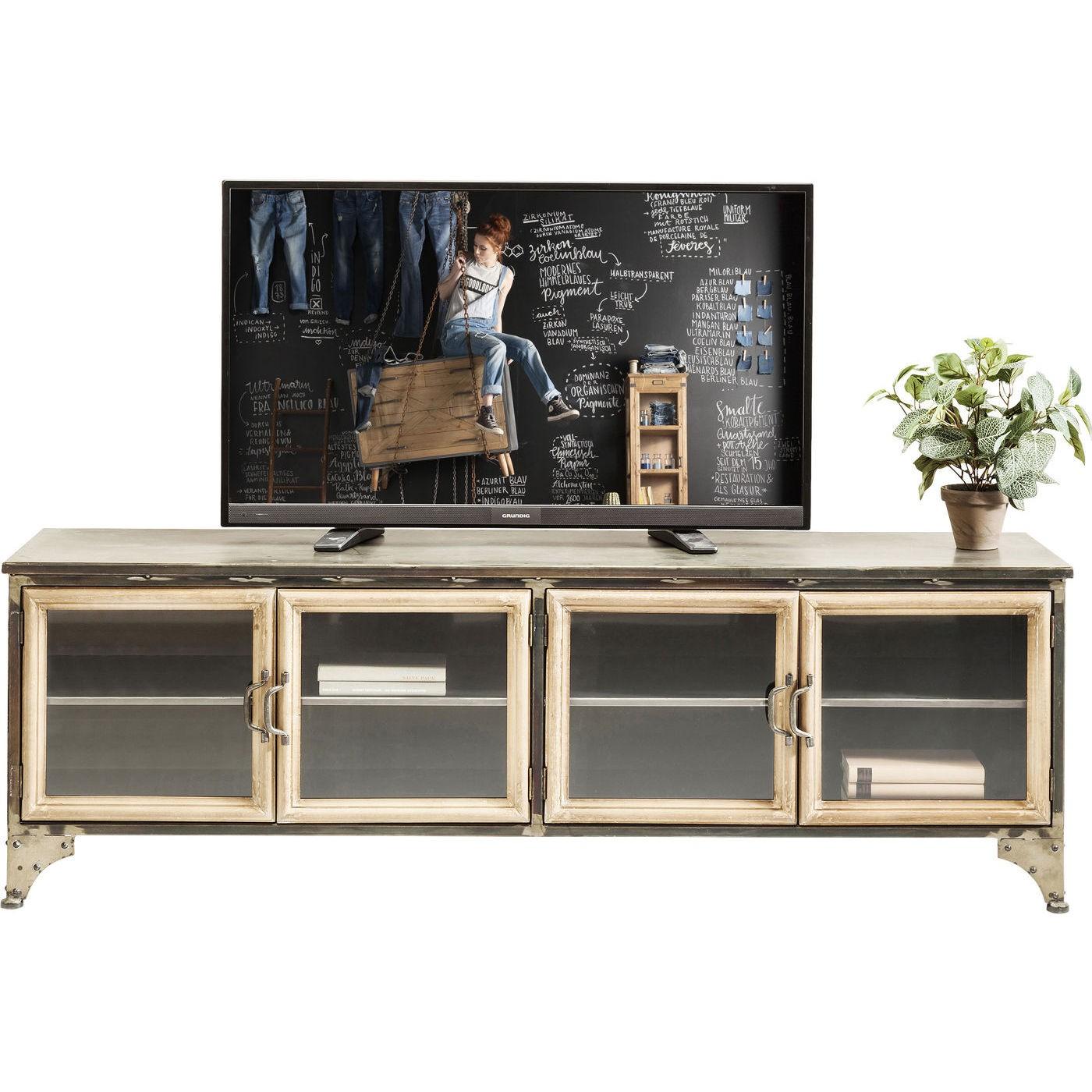 Meuble TV 4 portes industriel en acier et verre