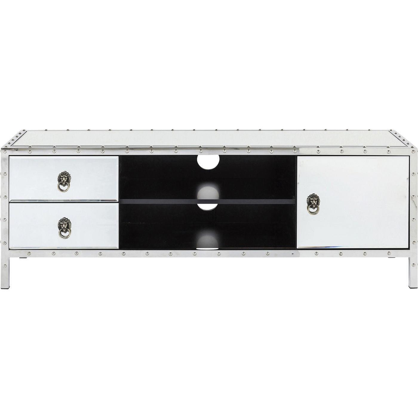 Meuble TV 1 porte 2 tiroirs en verre miroir