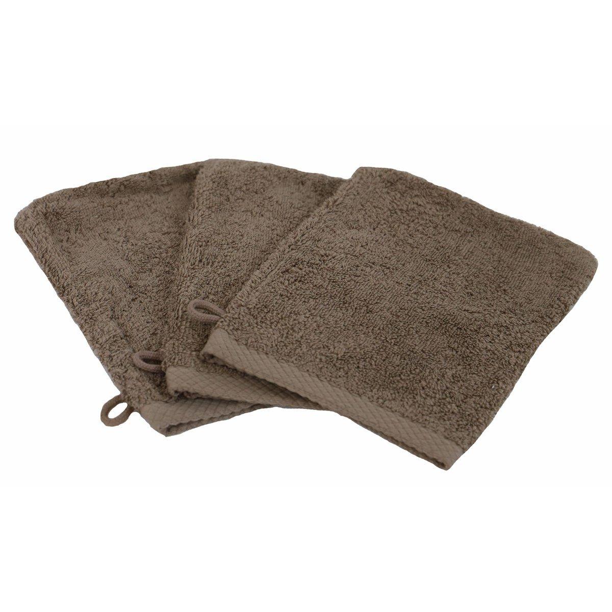 ESSENTIELLE - Lot de 3 gants de toilette éponge 600gr taupe