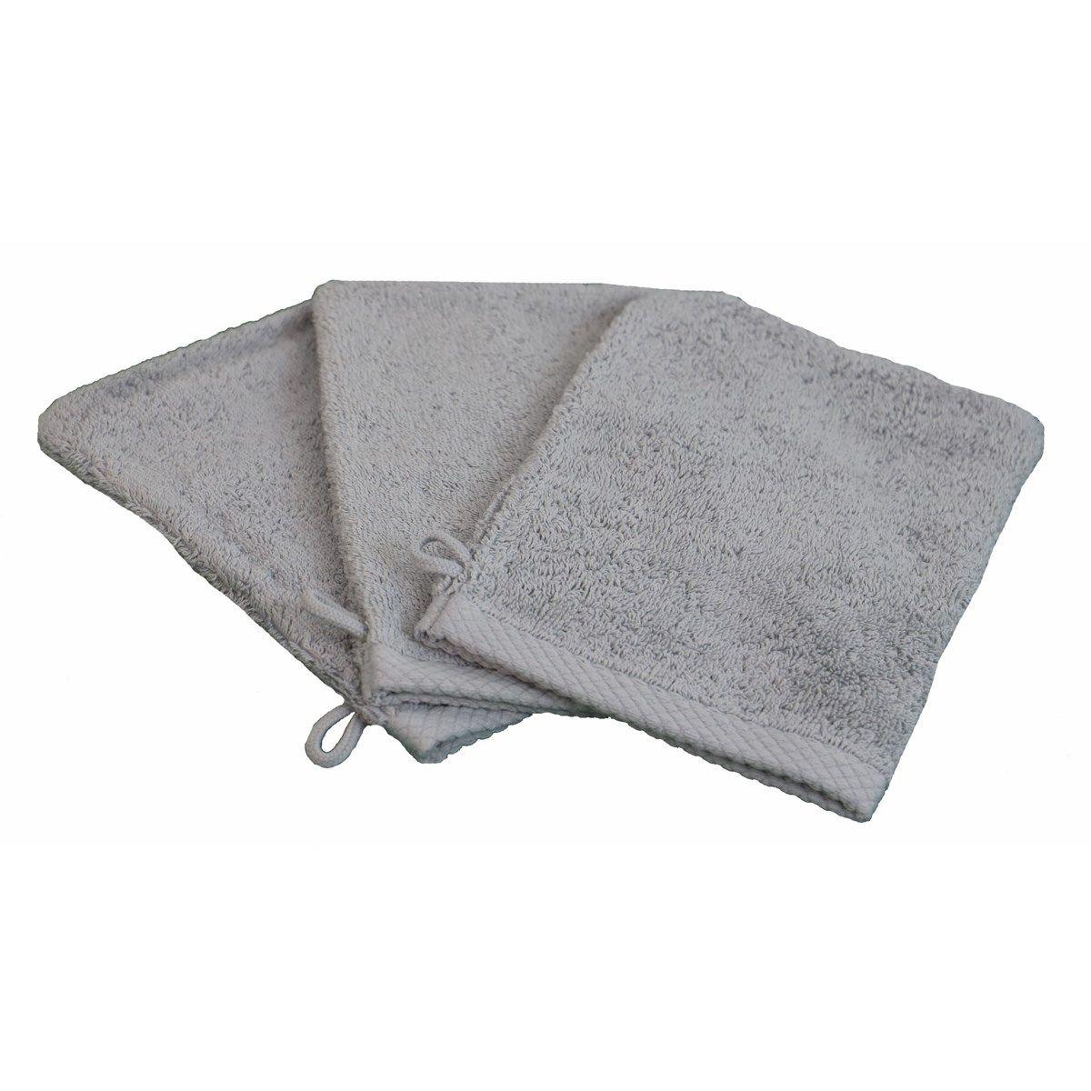 ESSENTIELLE - Lot de 3 gants de toilette éponge 600gr gris souris