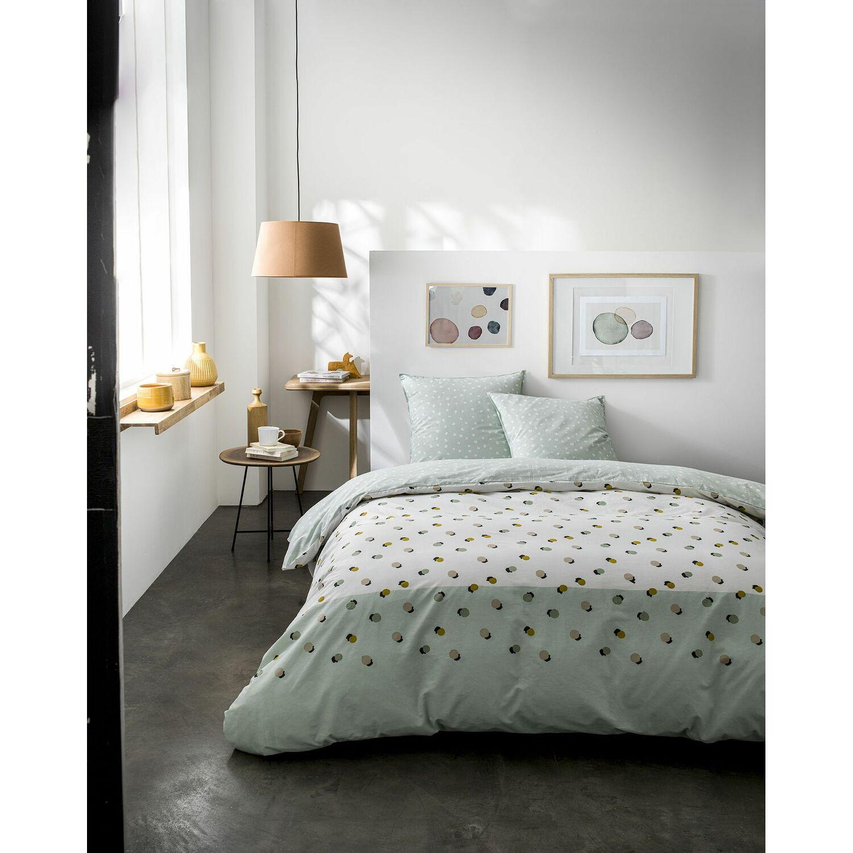 Parure de lit en coton vert 220x240