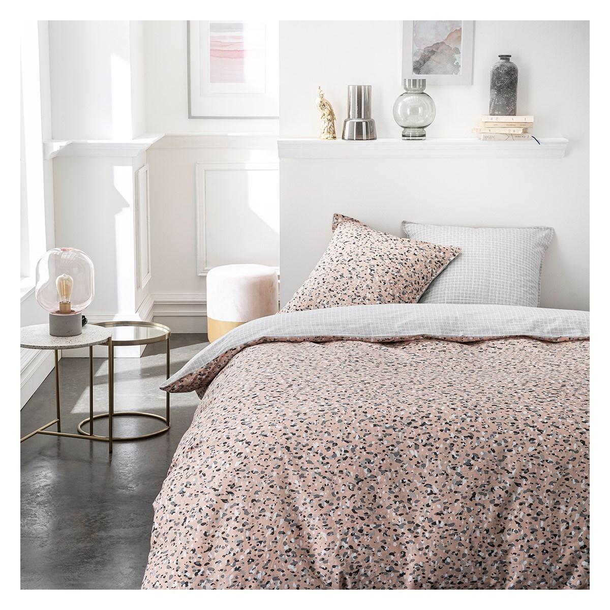 Parure de lit 2 personnes imprimé en Coton Rose 240x260 cm