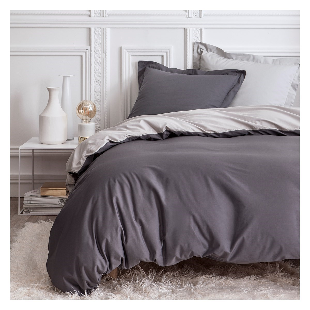 Parure de lit en percale gris 220x240