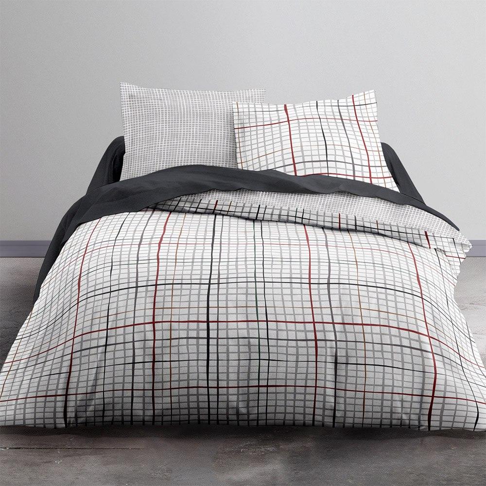 Parure de lit en coton gris 240x260