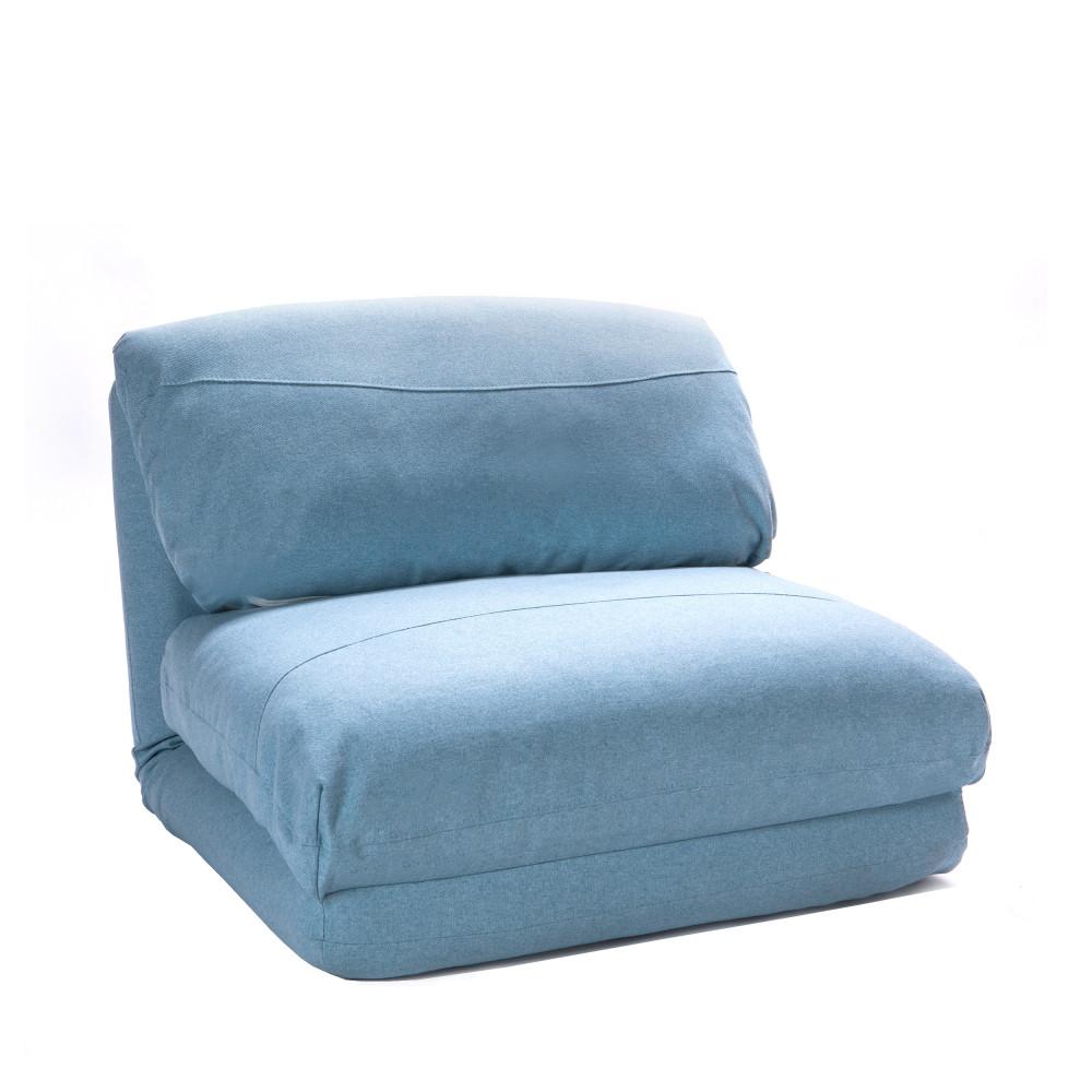 Chauffeuse convertible 1 place tissu bleu pastel