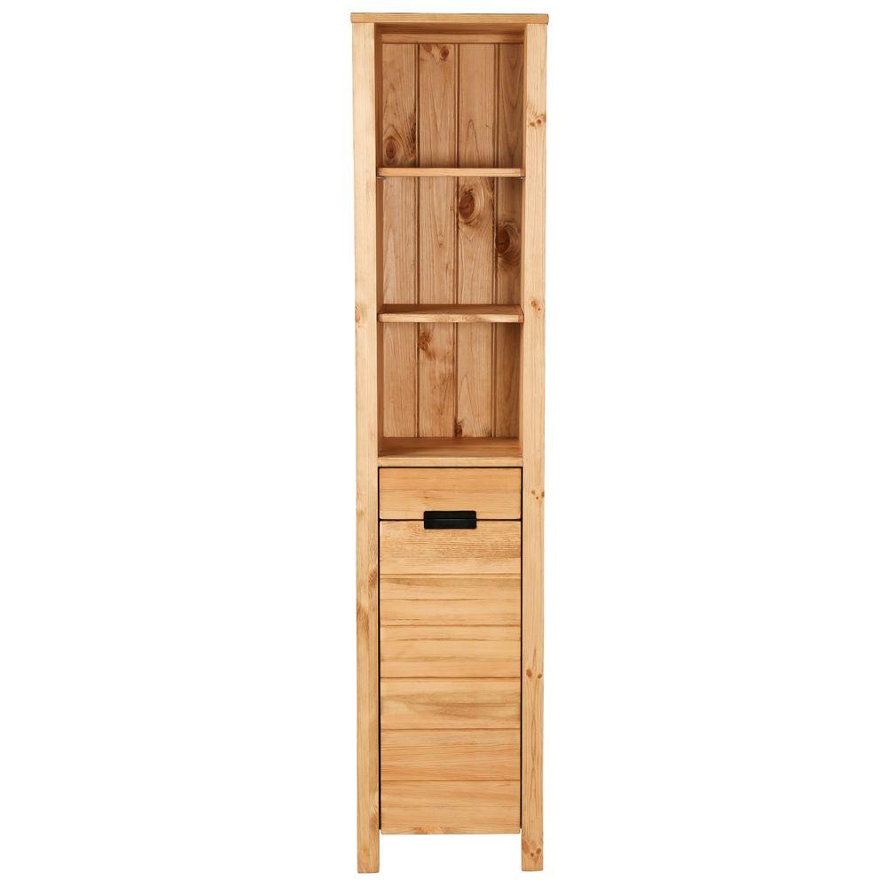 Colonne de salle de bain en pin 3 niches, 1 porte et 1 tiroir