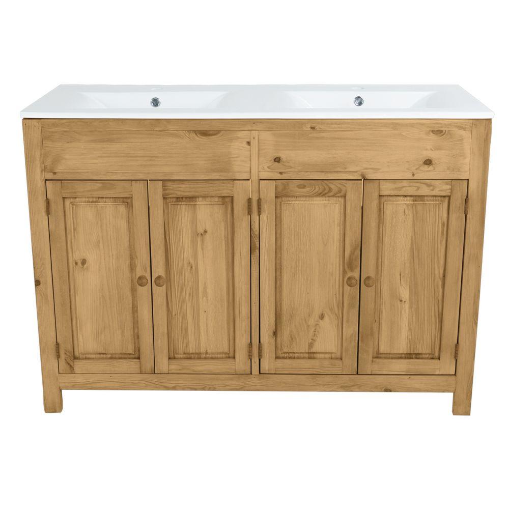 Meuble salle de bain pin massif 4 portes 2 vasques 120 cm
