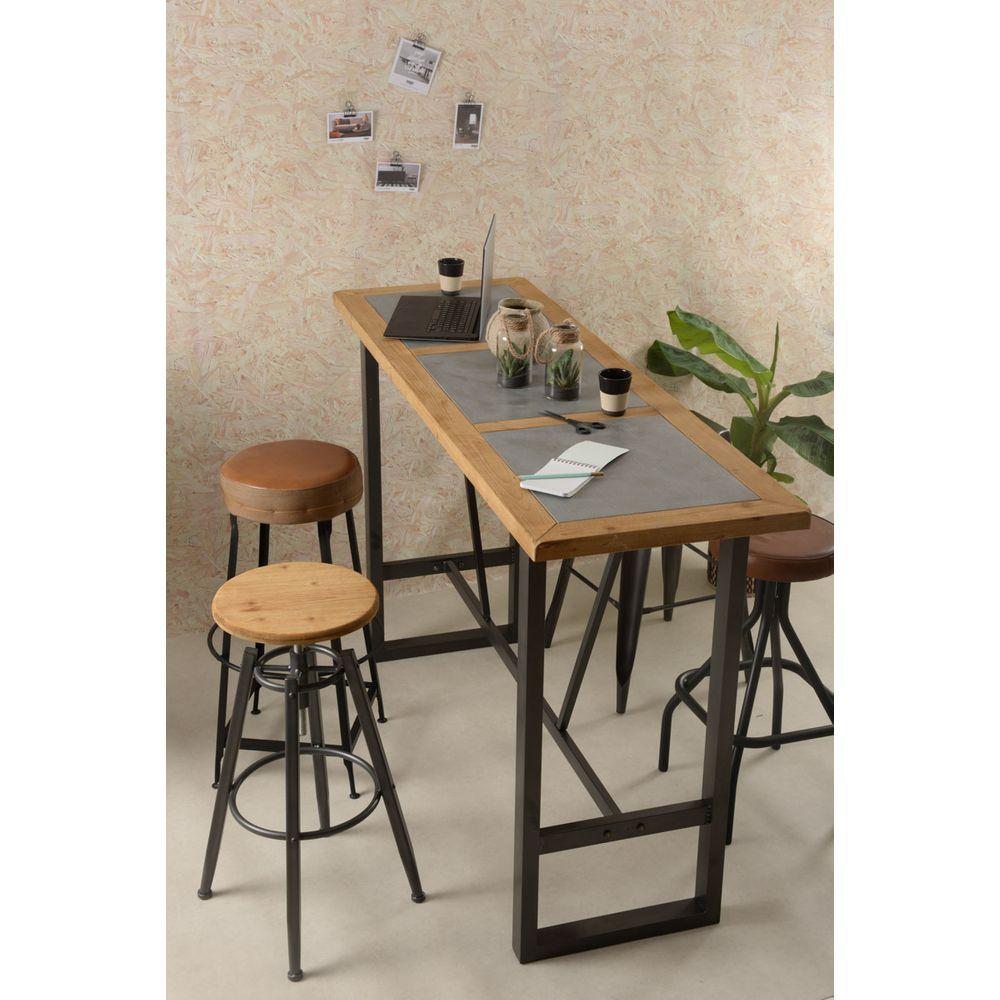 Table de bar gris et naturel