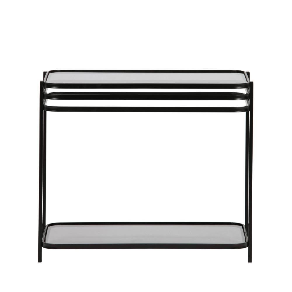 Table basse en métal et verre noir