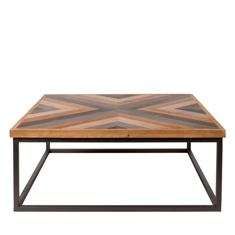 Table basse design carré 81x81cm bois et métal