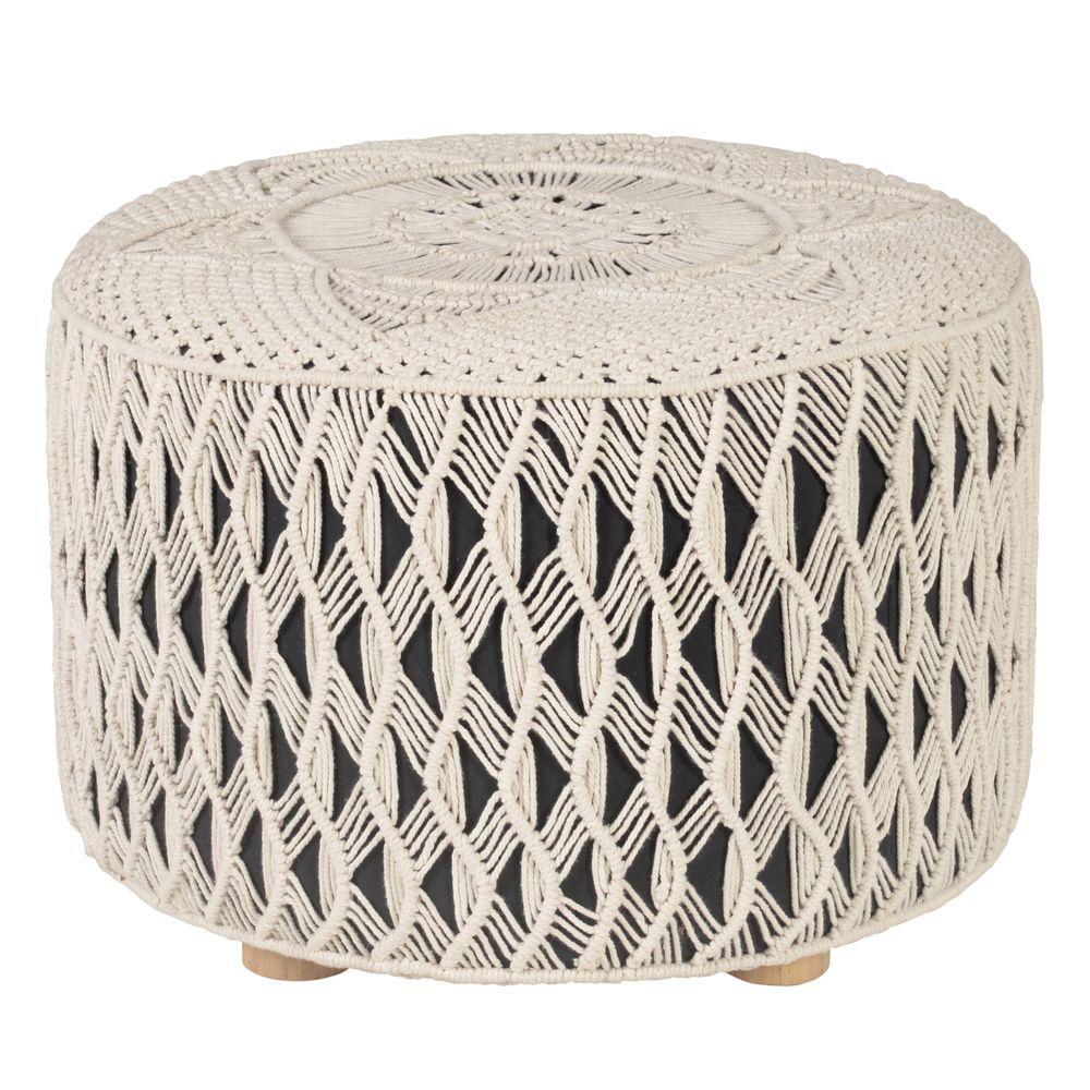 Table basse en cordage blanc