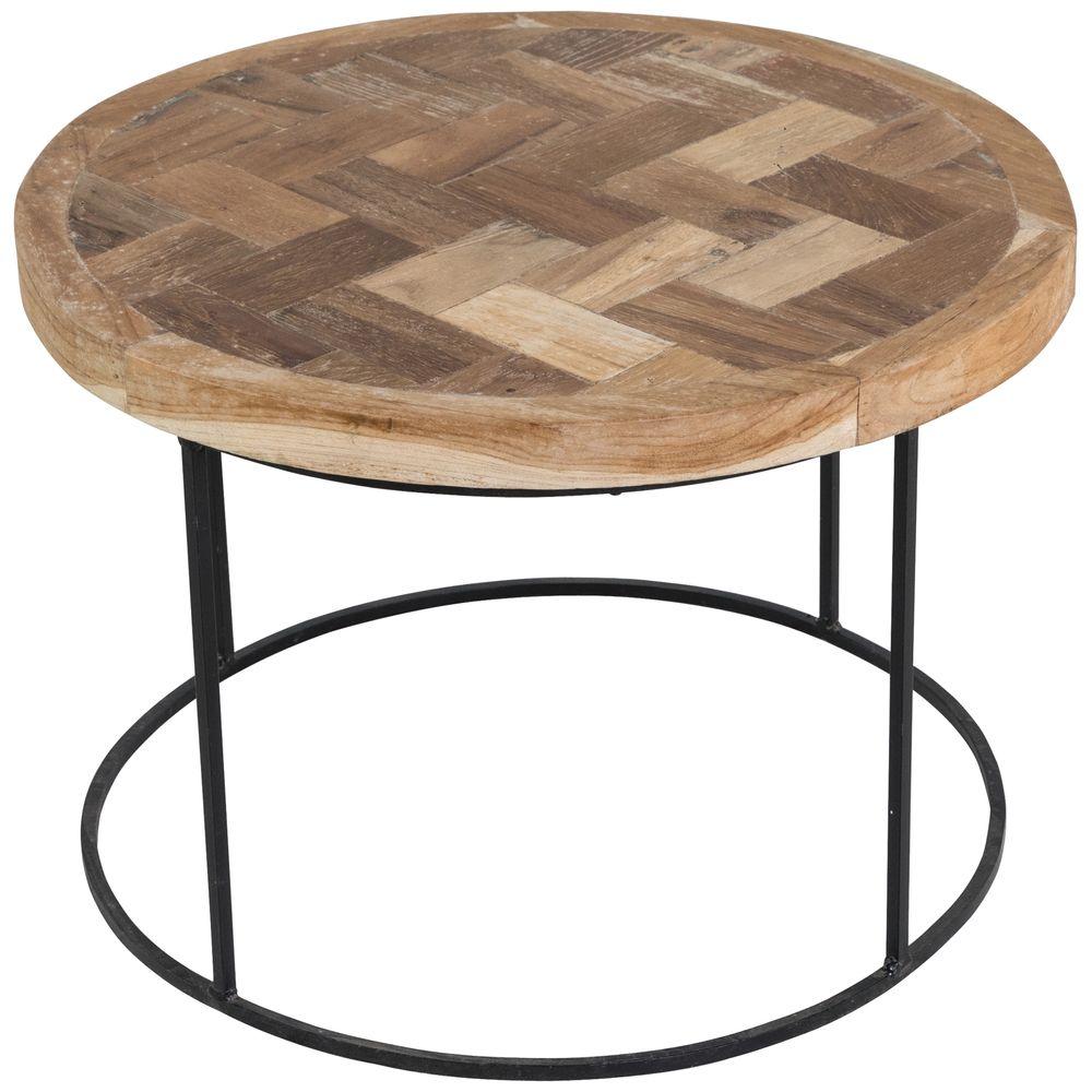 Table basse ronde bois et métal 60 cm