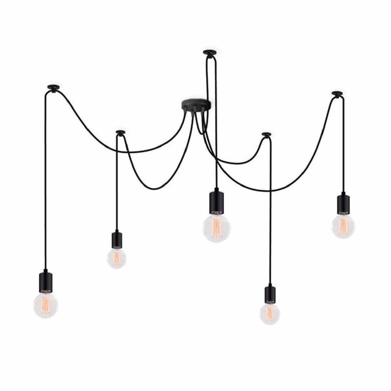 Suspension 5 lumières noir avec ampoules modulable