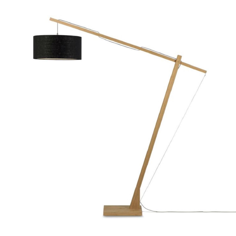 Lampadaire bambou/lin gris H207cm