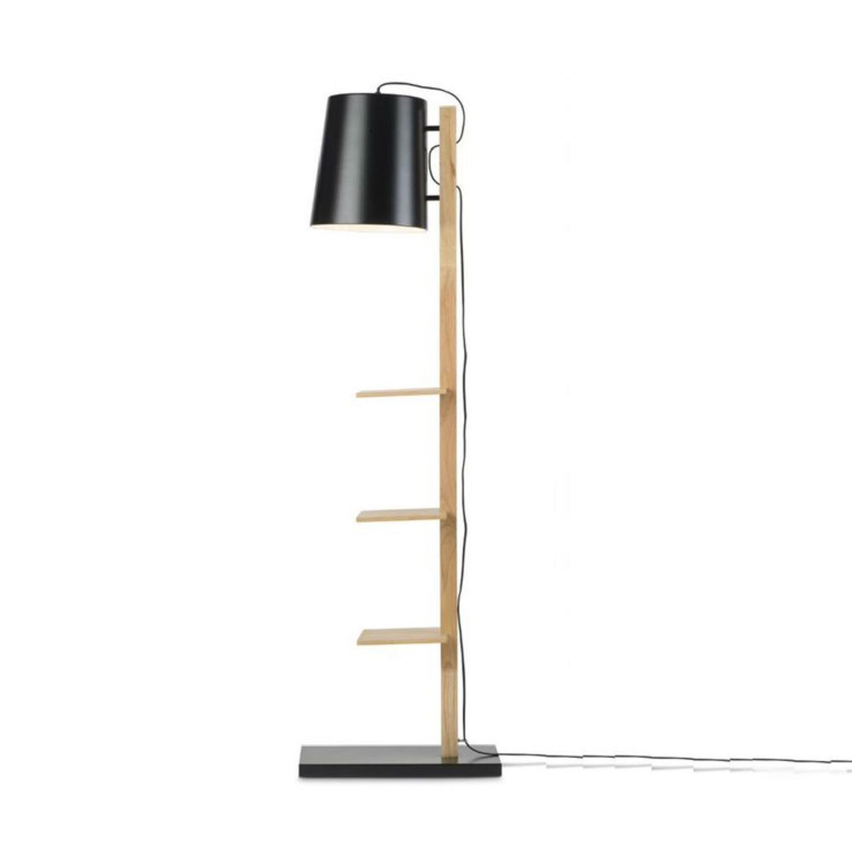 Lampadaire avec étagères métal/bois noir H168cm