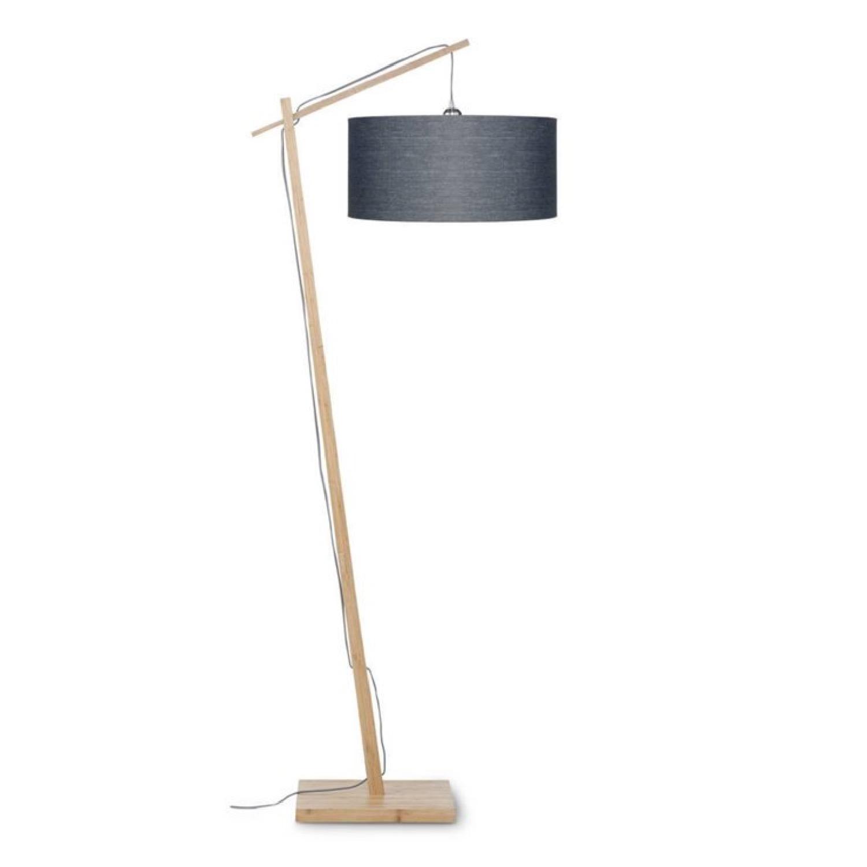 Lampadaire bambou et lin naturel gris H176cm