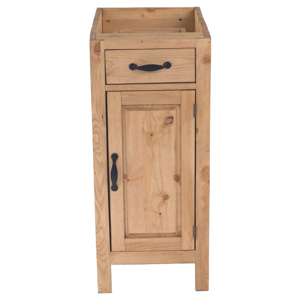 Meuble bas pin massif 40 cm 1 porte ouverture à droite 1 tiroir