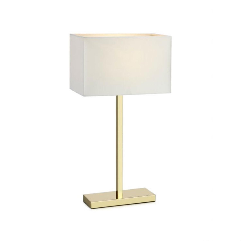 Lampe à poser avec port USB métal blanc/tissu H50cm