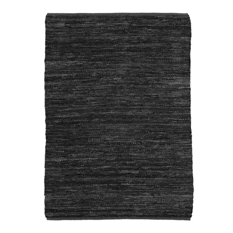 Tapis en cuir tressé noir 160x230