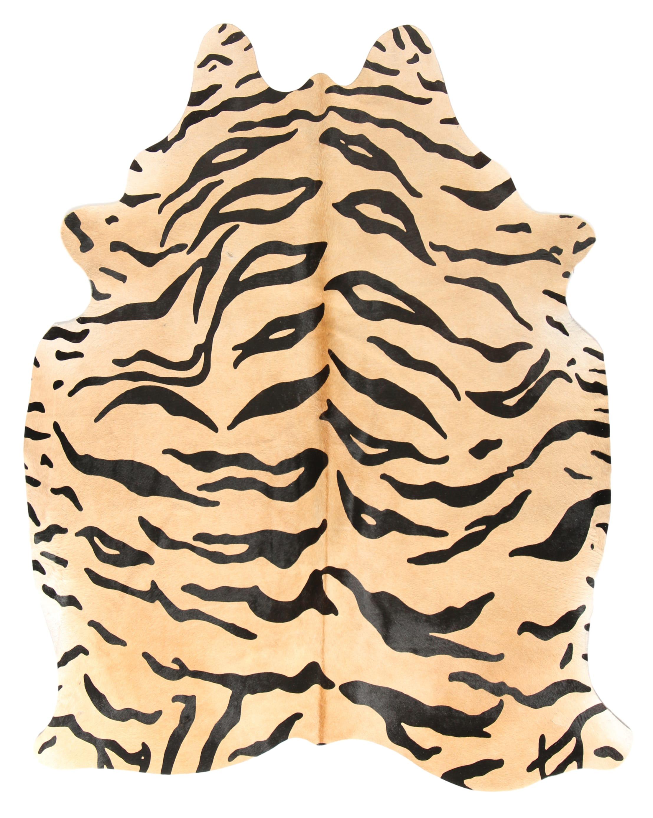Tapis en peau de vache imprimé safari tigre 180x200