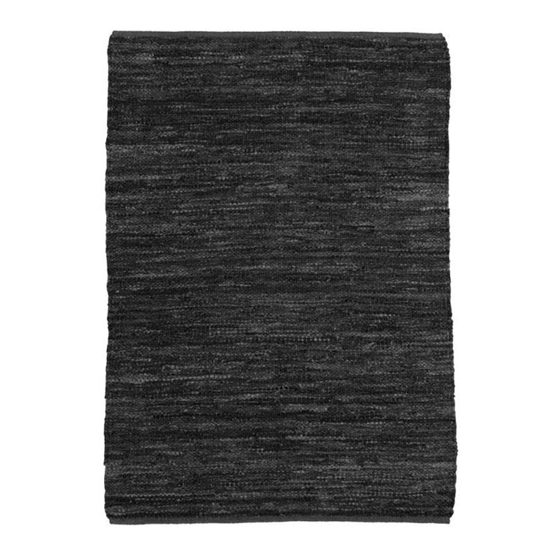 Tapis en cuir tressé noir 190x290