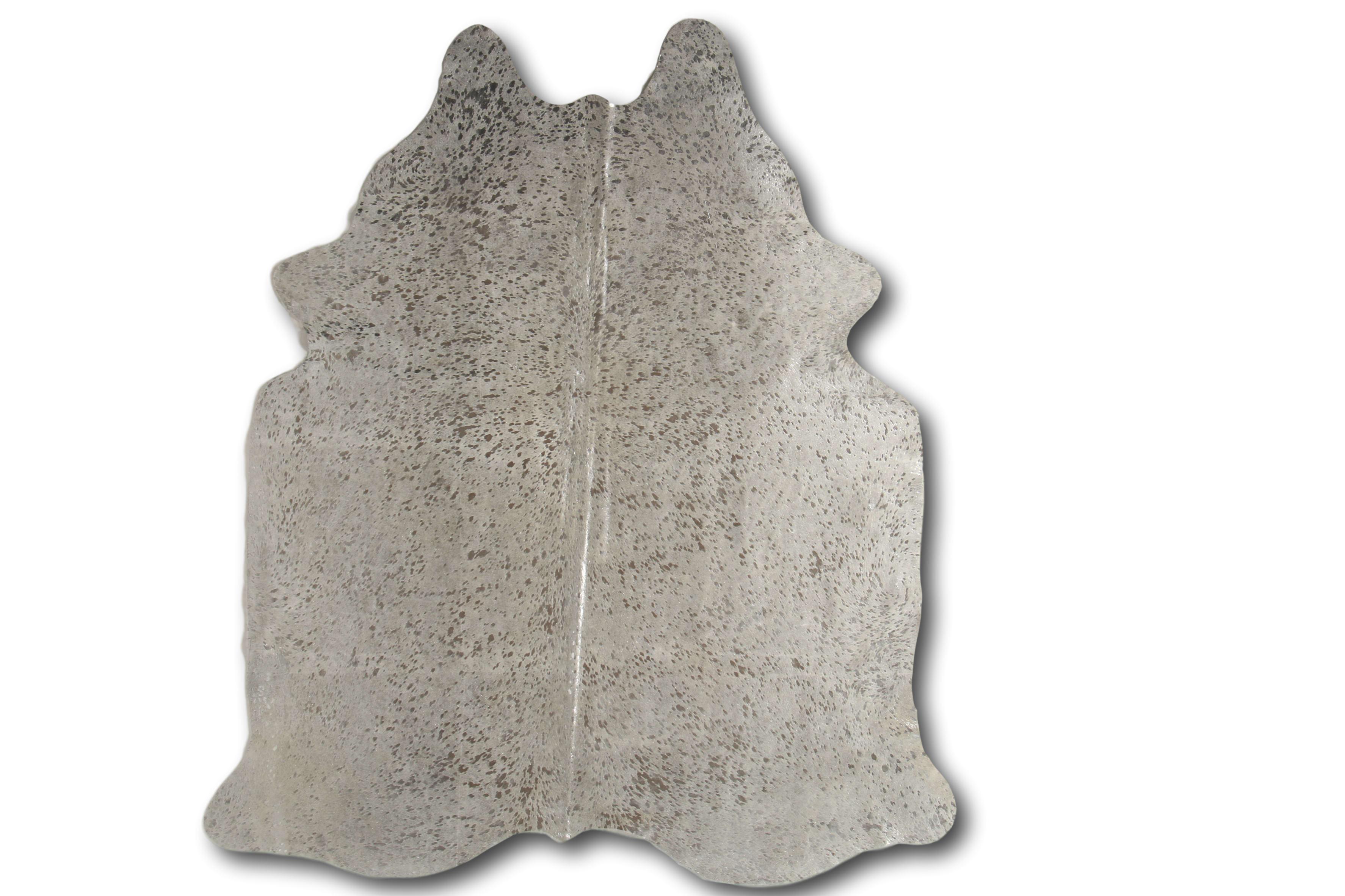 Tapis en peau de vache devore argent 180x200