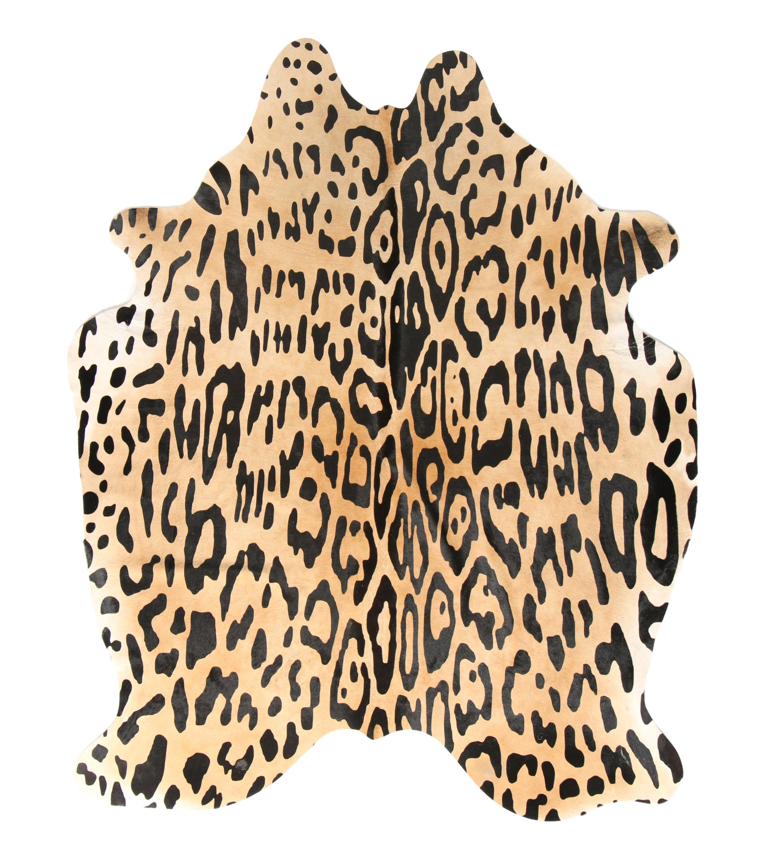Tapis en peau de vache imprimé safari jaguar 180x200