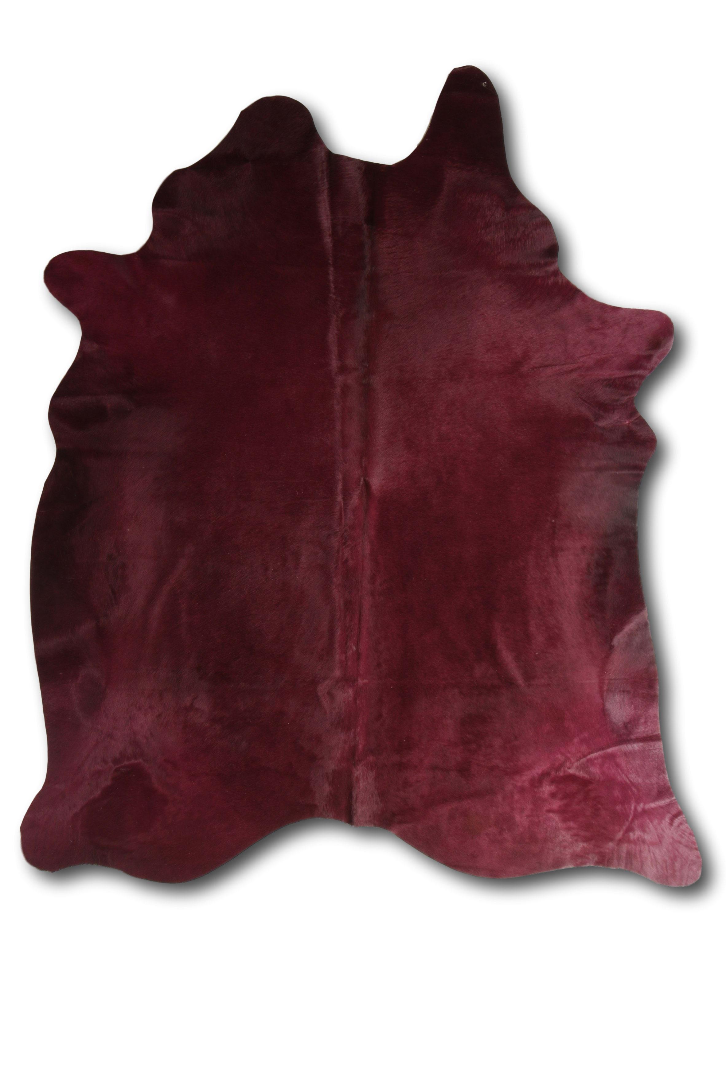 Tapis en peau de vache coloré bordeaux 180x200