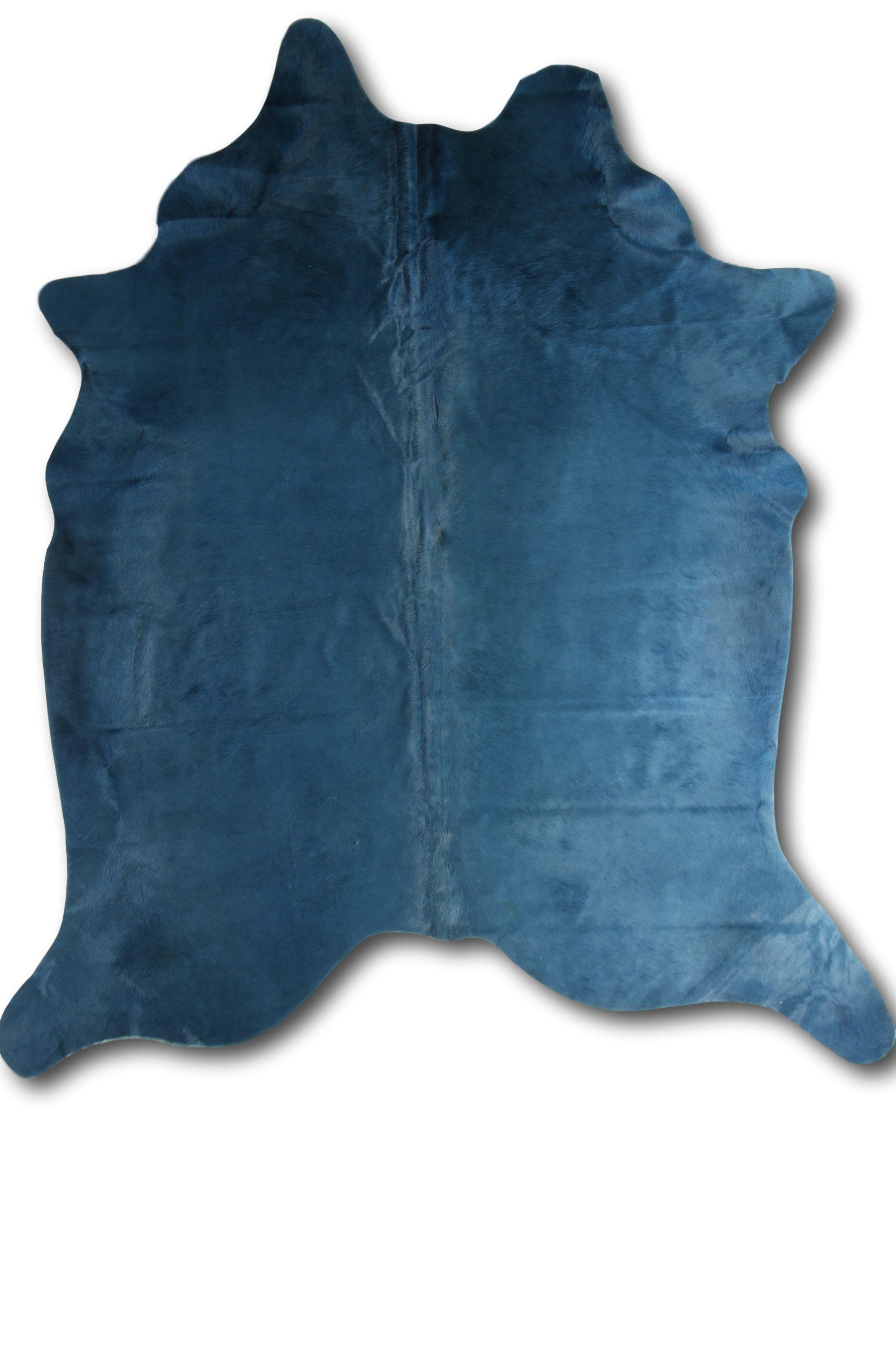 Tapis en peau de vache coloré blue 180x200