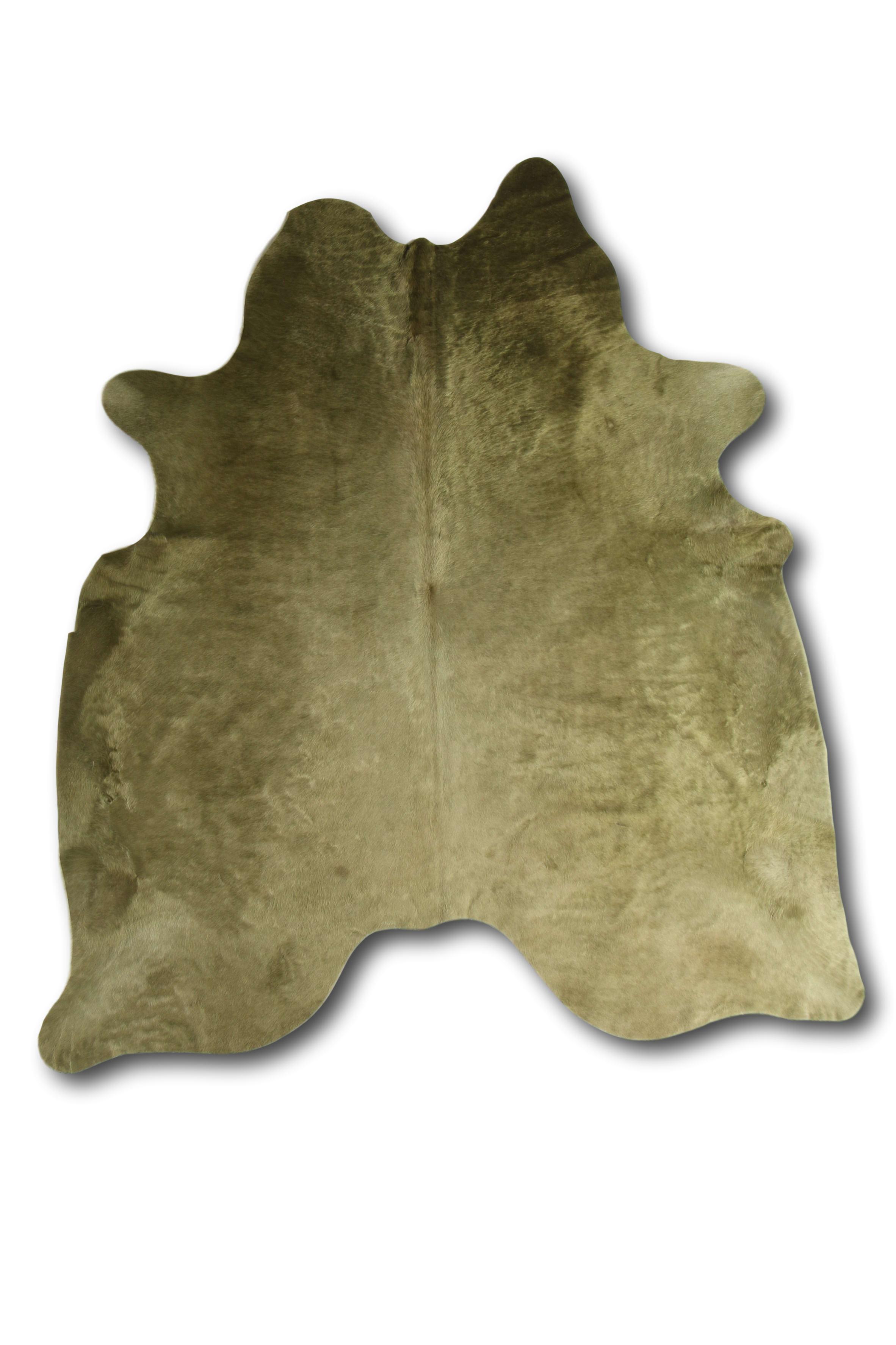 Tapis en peau de vache coloré olive 180x200