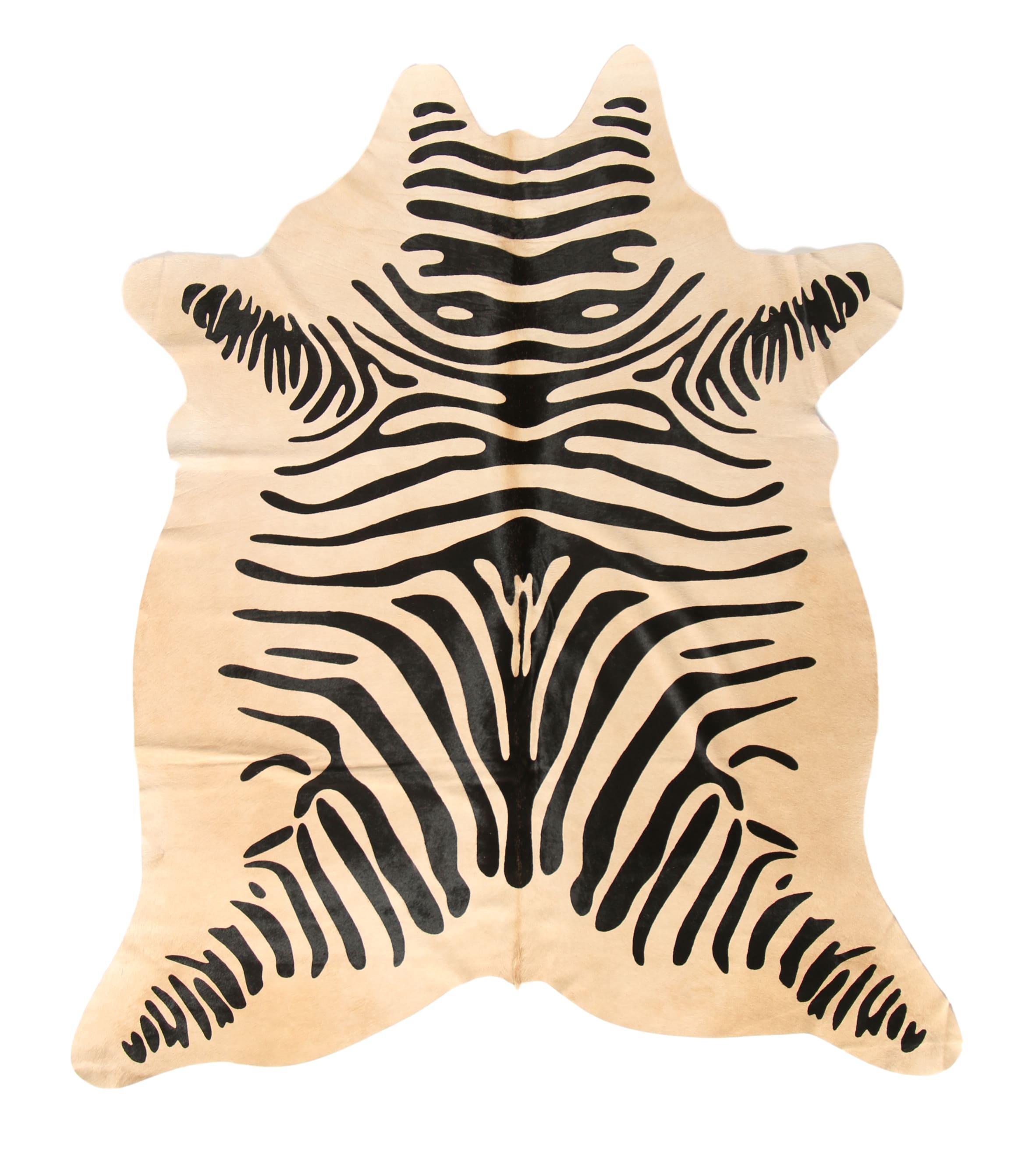Tapis en peau de vache imprimé safari zèbre 180x200