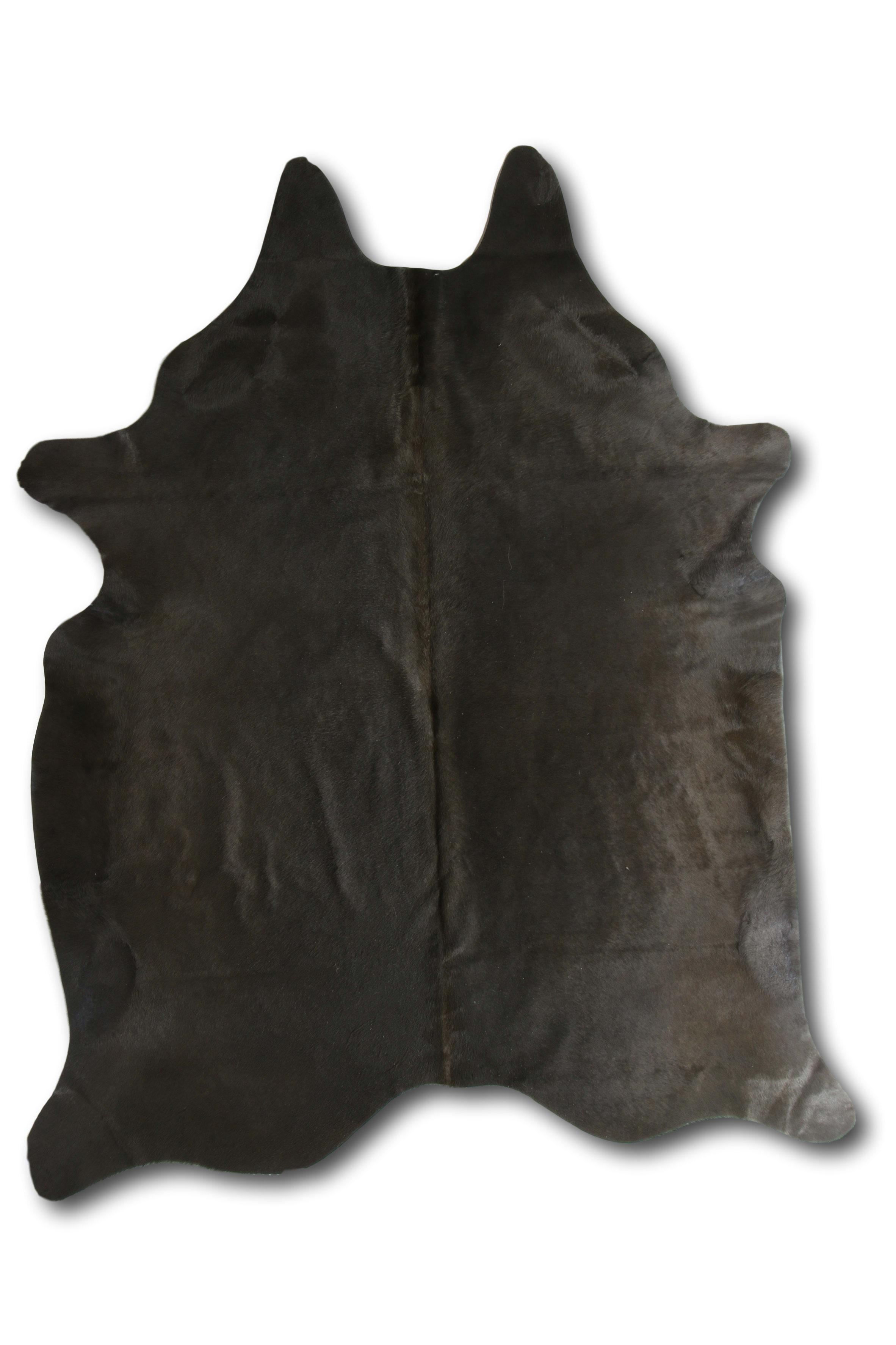 Tapis en peau de vache coloré gris foncé 180x200