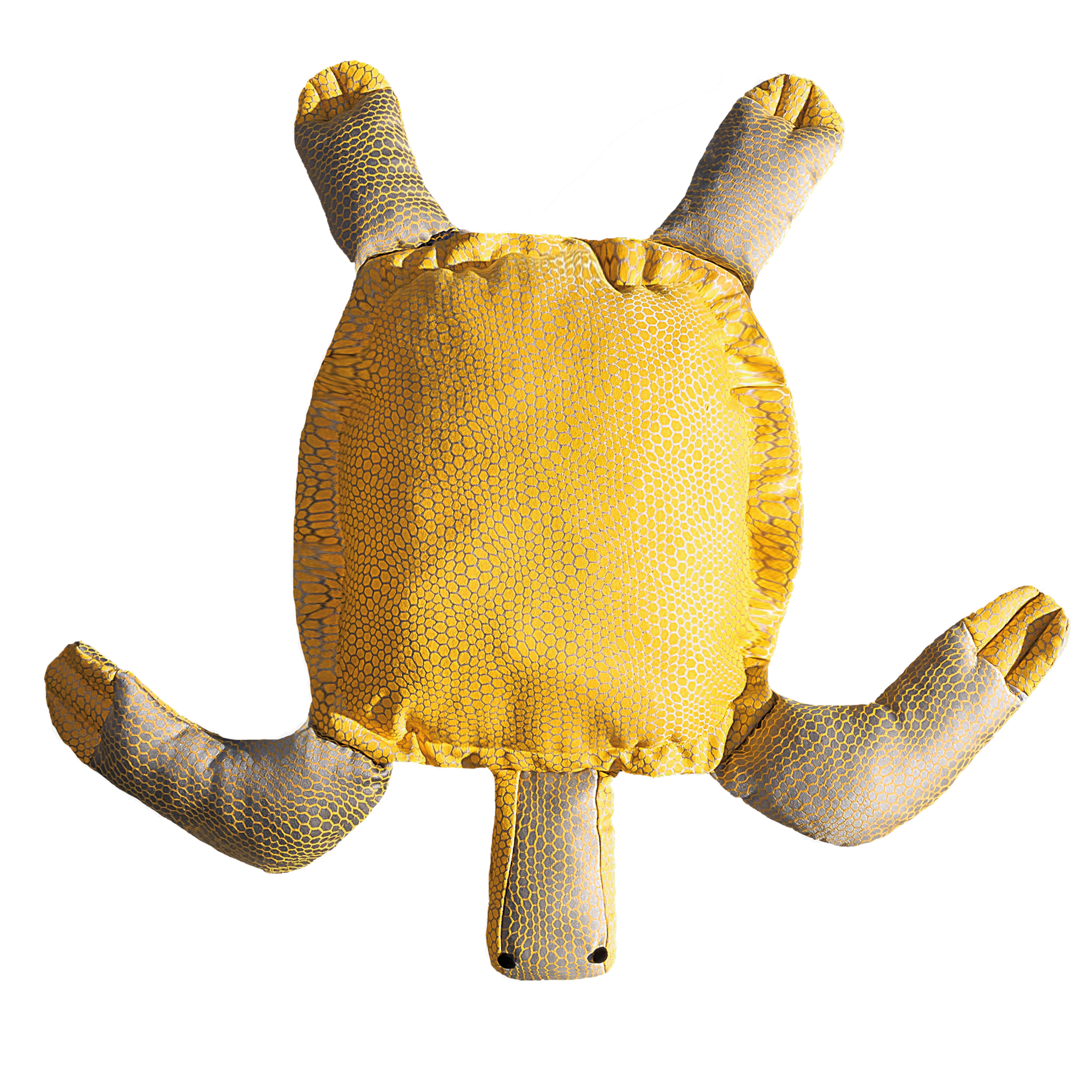 Coussin extérieur tortue jaune et gris