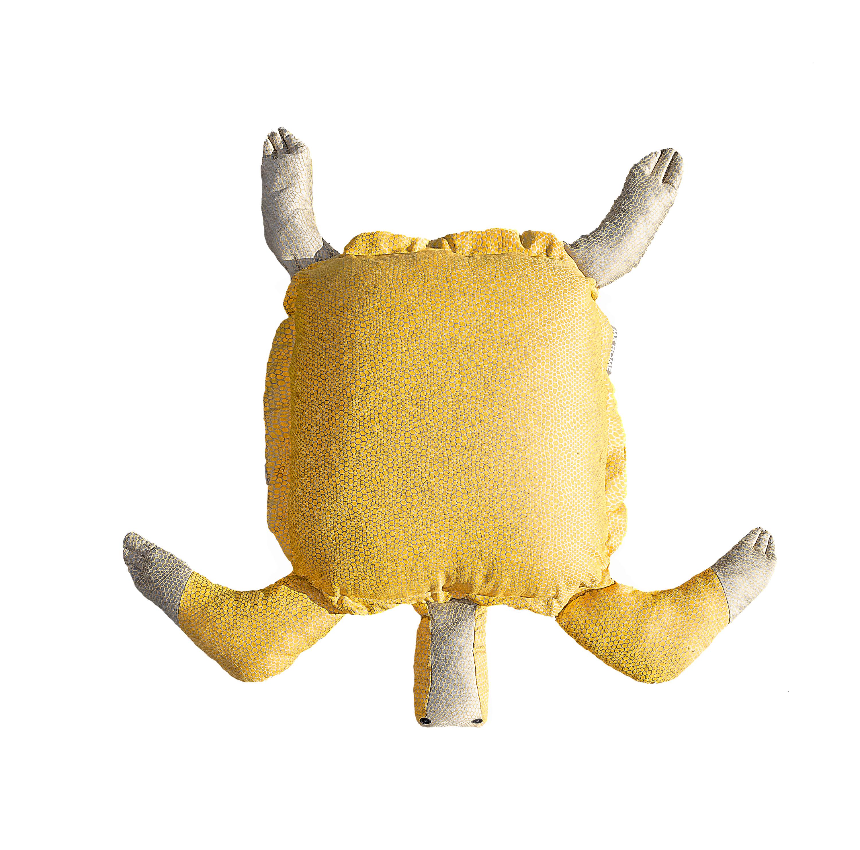 Pouf tortue extérieur flottant jaune et gris